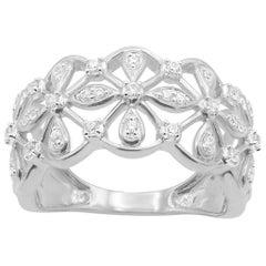 TJD 0.25 Carat Round Diamond 14 Karat White Gold Floral Pave Band Ring
