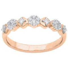 TJD 0.25Carat Round Diamond 14 Karat Rose Gold Hexagonal Shape Wedding Band Ring