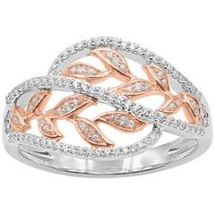 TJD 0.25 Carat Round Diamond 14 Karat Two-Tone Gold Leaf Shaped Fashion Ring