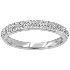 TJD 0.25 Carat Round 14K White Gold Half Eternity Wedding Anniversary Band Ring