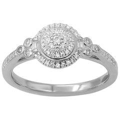 TJD 0.25 Carat Round Diamond Frame 14K White Gold Cluster Engagement Ring