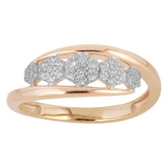 TJD 0.25 Carat Round Diamond 14 Karat Gold Cluster Crossover Wide Wedding Band