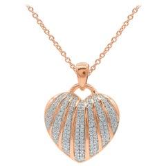 TJD 0.25 Carat Round Diamond 14 Karat Rose Gold Heart Seashell Diamond Pendant