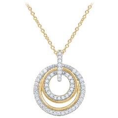 TJD 0.25 Carat Round Diamond 14 Karat Yellow Gold Designer Double Circle Pendant