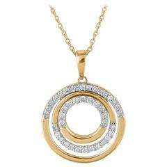 TJD 0.25 Carat Round Diamond 14 Karat Yellow Gold Designer Tri-Circle Pendant