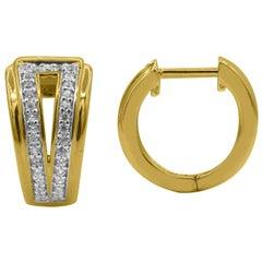 TJD 0.25 Carat Round Diamond 14 Karat Yellow Gold V Shaped Huggie Hoop Earrings