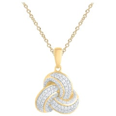 TJD 0.25 Carat Round Diamond 14k Yellow Gold Love Knot Diamond Fashion Pendant