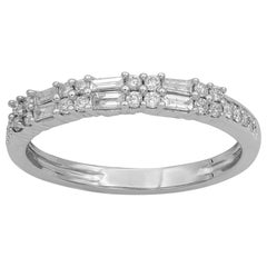TJD 0.33 Carat Baguette and Round Brilliant Cut Pave Diamond 14 Karat White