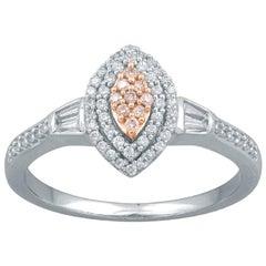 TJD 0.33 Carat Nat Pink Rosé & White Diamond 14Kt Two-Tone Gold Engagement Ring