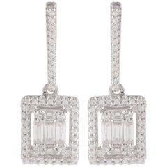 TJD 0.33 Carat Round and Baguette Diamond 18 Karat White Gold Halo Drop Earrings