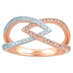 TJD 0.33 Carat Pink & White Diamond 18K Rose Gold Interlocking Split Shank Ring