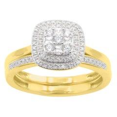 TJD 1/3Carat Round Diamond 14 Karat Yellow Gold Designer Cluster Bridal Set Ring
