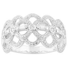 TJD 0.33 Carat Round and Baguette Diamond 14 Karat Gold Designer Fashion Ring