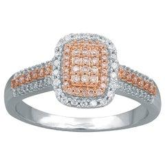 TJD 0.33 Ct Nat Pink Rosé & White Diamond 14 Karat Two-Tone Gold Engagement Ring