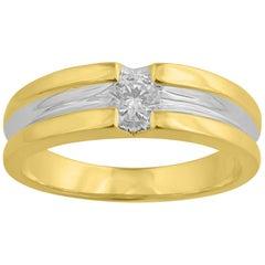 TJD 0.33 Carat Round Brilliant Diamond 14 Karat Yellow Gold Channel Set Wedding