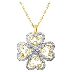 TJD 0.33 Carat Round Diamond 14 Karat Yellow Gold Floral Design Diamond Pendant