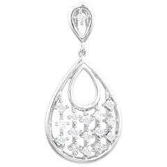 TJD 0.33 Carat Round Diamond 14K White Gold Designer Pear Shaped Drop Pendant