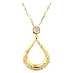 TJD 0.33 Carat Round Diamond 14K Yellow Gold Flush Set Fashion Teardrop Pendant