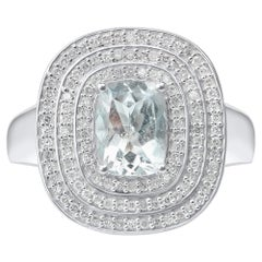 TJD 0.35 Carat Diamond and 8 X 6 MM Cushion Cut Aquamarine 14K White Gold Ring