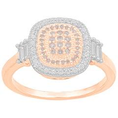 TJD 0.35 Carat Pink and White Diamond 18 Karat Rose Gold Cushion Shape Ring