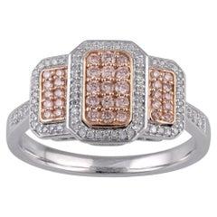 TJD 0.35 Ct Nat Pink Rosé & White Diamond 14 Karat White Gold Engagement Ring