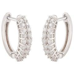 TJD 0.40 Carat Double Row Diamond 18 Karat White Gold Classic Hoop Earrings