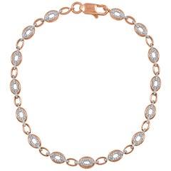 TJD 0.44 Carat Diamond 18 Karat Rose Gold Designer Oval Link Bracelet
