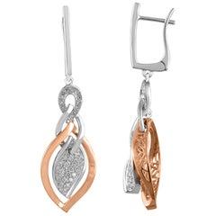 TJD 0.45 Carat Round Diamond 18K 2 Tone Gold Leaf Shape Drop Dangling Earrings