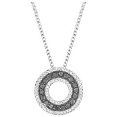 TJD 0.45 Carat Black & White Diamond 14 Karat White Gold Circle Pendant Necklace