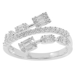 TJD 0.50 Carat Baguetee and Round Brilliant Diamond 14 Karat White Gold
