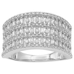 TJD 1/2Carat Round & Baguette Diamond 14K White Gold Multi-row Anniversary Band
