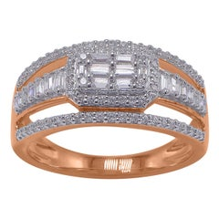 TJD 0.50 Carat Baguette and Round Brilliant Diamond Frame 14 Karat Rose Gold