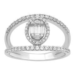 TJD 0.50 Carat Baguette and Round Diamond 14 Karat White Gold Open Designer Ring