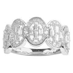 TJD 0.50 Carat Baguette and Round Brilliant Diamond Frame 14 Karat White Gold