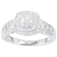 TJD 1/2 Carat Round and Baguette Diamond 14K White Gold Cluster Engagement Ring
