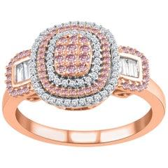 TJD 0.50 Ct Natural Pink Rosé & White Diamond 14 Karat Rose Gold Engagement Ring