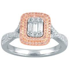 TJD 0.50 Carat Nat. Pink Rosé & White Diamond 14K WG Double Halo Engagement Ring