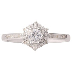 TJD 0.50 Carat Round and Baguette Diamond 18 K White Gold Diamond Cluster Ring