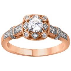 TJD 0.50 Carat Diamond 18 Karat Rose Gold Halo Engagement Halo Ring