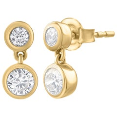 TJD 0.50 Carat Diamond Two Stone Bezel Set 18 Karat Yellow Gold Stud Earrings