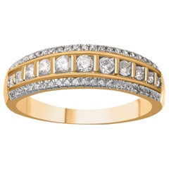 TJD 0.50 Carat Brilliant Cut 18 Karat Yellow Gold Diamond Wedding Band