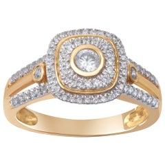 TJD 0.50 Carat Diamond 18 Karat Yellow Gold Vintage Micropave Bezel Ring