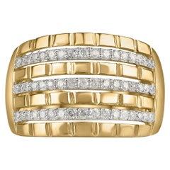 TJD 0.50 Carat Brilliant Diamond 10 Karat Yellow Gold Multi Row Engagement Ring