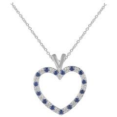 TJD 0.50 Carat Natural Blue Sapphire/Round Diamond 14 Karat Gold Heart Pendant