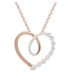 TJD 1/2Carat Round Diamond 14K Rose Gold Heart Shape Diamond Pendant with Chain