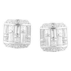 TJD 1/2Carat Round & Baguette Diamond 14K White Gold Cushion Shape Stud Earrings