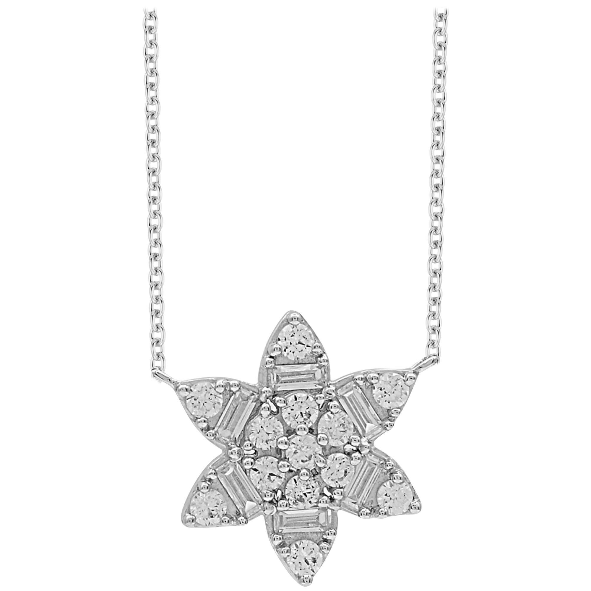 TJD 0.50 Carat Round & Baguette Diamond 14 Karat White Gold Flower Necklace