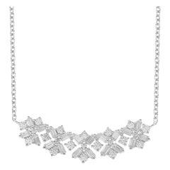 TJD 0.50 Carat Round and Baguette Diamond 14 Karat White Gold Curve Bar Necklace