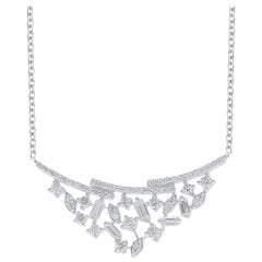 TJD 0.50 Carat Round & Baguette Diamond 14 Karat White Gold Curve Bar Necklace