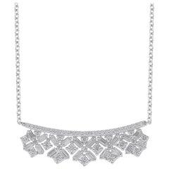 TJD 0.50 Carat Round & Baguette Diamond 14 Karat White Gold Scatter Bar Necklace